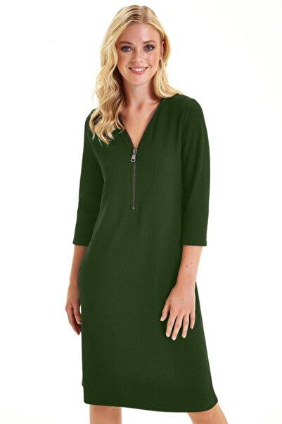 İKİLER Yakası Fermuarlı Turvakar Kol Elbise 201-2506