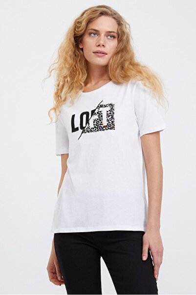 Loft Kadın Slim Fit Baskılı Beyaz T-shirt Lf2023795