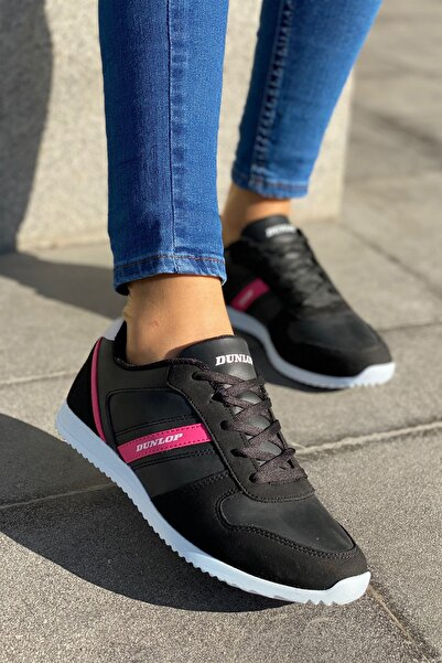 DUNLOP Siyah Pembe Kadın Ince Taban Sneaker