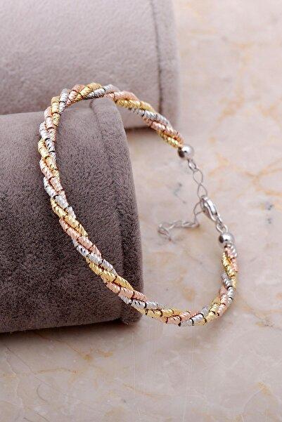 Sümer Telkari Dorissa Altın Yaldızlı Rose Gümüş Bilezik 3329