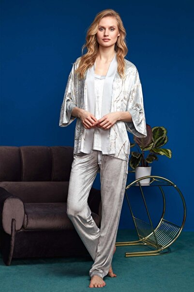 Penyemood Penye Mood Kadın 3'lü Pijama Set 8634 Gri