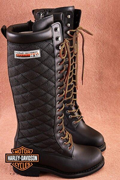 Harley Davidson Rem Black Deri Kadın Çizme
