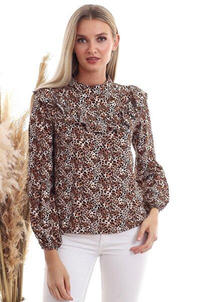 Cotton Mood 20333336 Dok.viskon Desenli Önü Volanlı Uzun Kol Bluz Leopar Desenlı