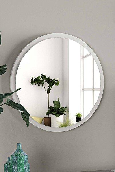bluecape Yuvarlak Beyaz Duvar Salon Ofis Aynası 45cm