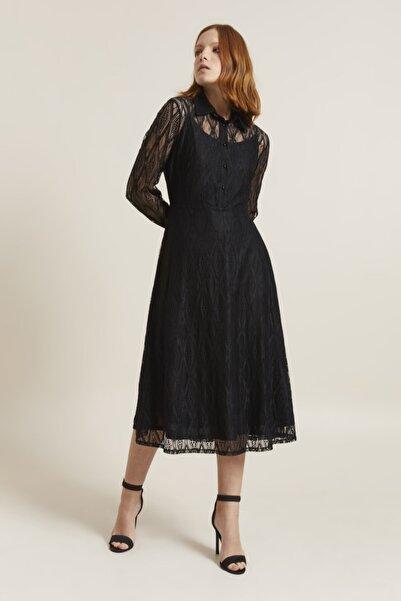 adL Kadın Siyah Dantel Uzun Kol Elbise 12439349000
