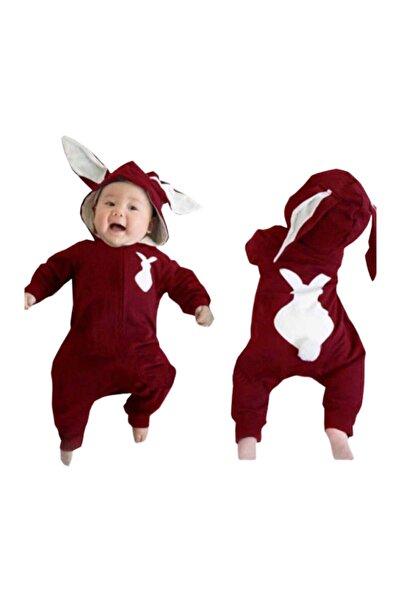 bebegen Bordo Tavşan Kulaklı Ponponlu Bebek Tulum