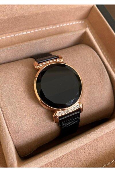Gold Time Siyah Hasır Mıknatıslı Kordon Taşlı Kasa Dokunmatik Ekran Kadın Saati