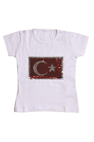bebegen Kırmızı Pullu Bayrak Desneli Beyaz T-shirt