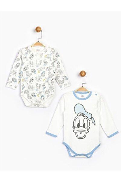 Mickey Mouse Erkek Bebek Ekru Disney 2'li Bebek Body 16185