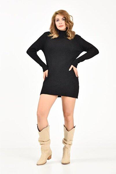 Modkofoni Yarım Balıkçı Yaka Mini Siyah Triko Elbise