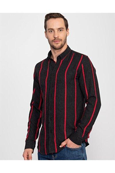 Tudors Slim Fit Çizgili Kışlık Erkek Gömlek
