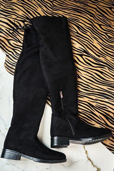 Bambi Siyah Süet Kadın Çizme K0640165265