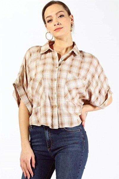 Twister Jeans Kadın Gömlek Bayan Yarasa Kol Ekose Gömlek 19871 Taba