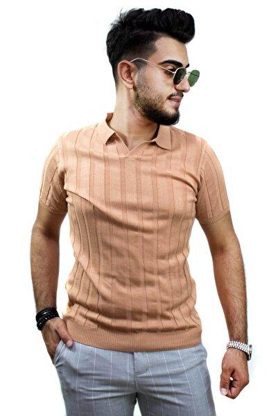 kulemoda Ince Şeritli Polo Yaka Açık Kiremit Kahvesi Triko Erkek Tshirt