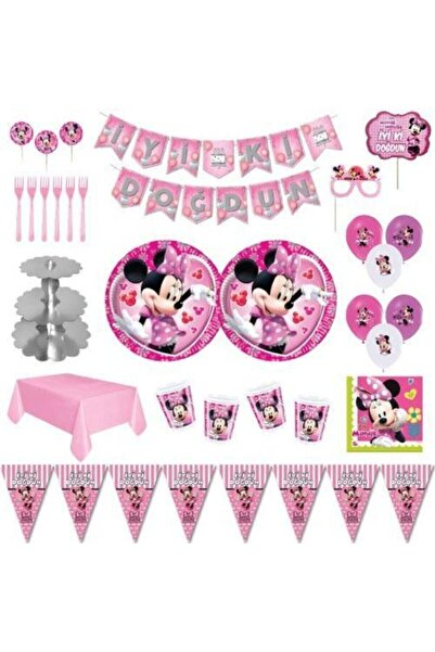 MINNIE Mouse Lüks Doğum Günü Parti Malzemeleri Seti Süs 16 Kişilik