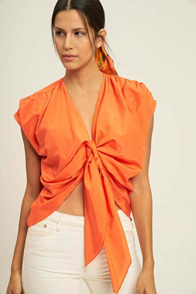 Silk and Cashmere Ipek Karışımlı Mia Düğüm Detaylı Bluz