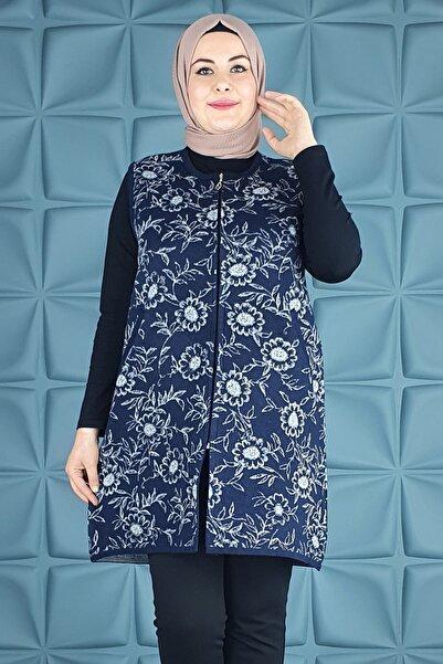 PYS Giyim Anne Papatya Çiçekli Uzun Yelek Kuğu-006