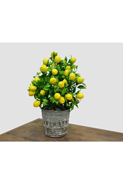 Hepsihizligidiyor Gri Porselen Saksıda Yapay Limon Ağacı