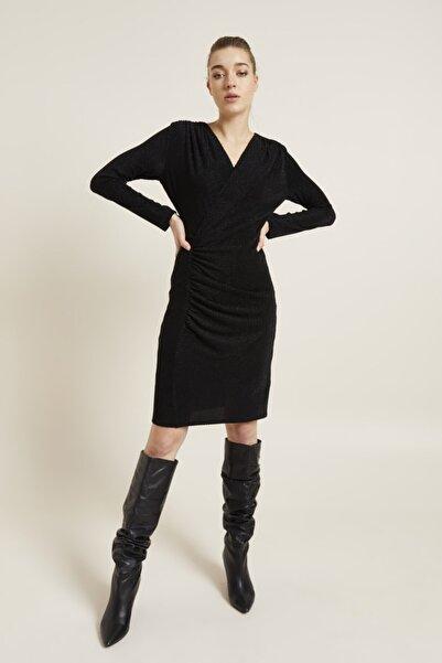 adL Kadın Siyah Drapeli Simli Örme Elbise