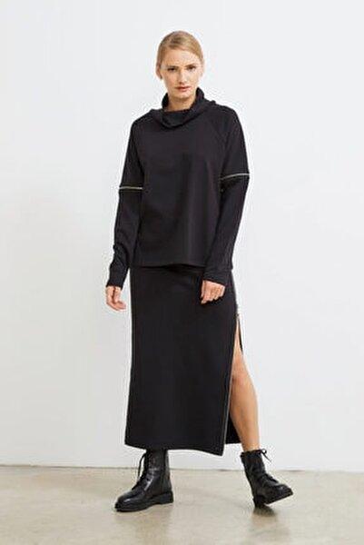 Degaje Yaka Fermuarlı Sweatshirt
