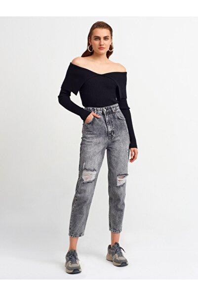Dilvin 4273 Lazerli Mavi Mom Pantolon-antrasit