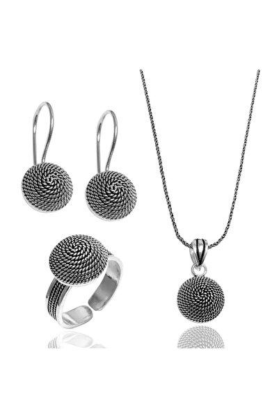 Midyat Gümüş Dünyası Sarmaşık Model Telkari Gümüş Bayan Üçlü Takım (Kod 2020711)