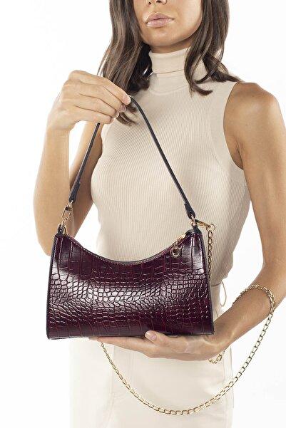 Madamra Aynı Butikte 2.Ürün 1 TL Koyu Bordo Kroko Kadın Baget Zincir Askılı Omuz Çantası ve Postacı Çantası