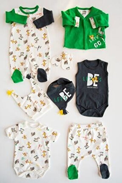 Babymod Yeşil Safari 8li Erkek Bebek Hastane Çıkışı