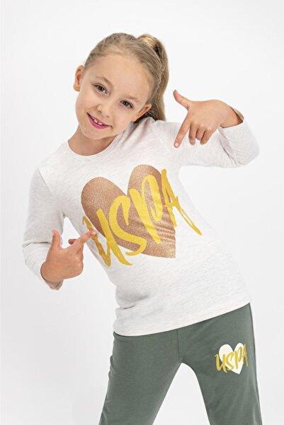 U.S. Polo Assn. Kız Çocuk Kremmelanj Lisanslı Pijama Takımı