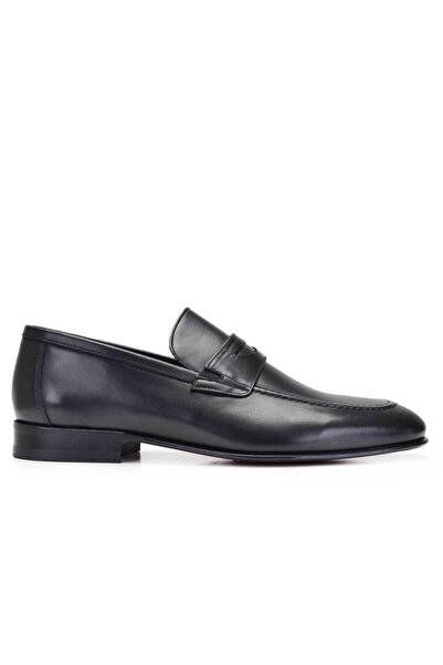 Nevzat Onay Hakiki Deri Siyah Klasik Loafer Kösele Erkek Ayakkabı -11657-