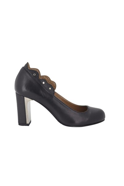 Hobby Siyah Açma Deri Topuklu Kadın Ayakkabı 272
