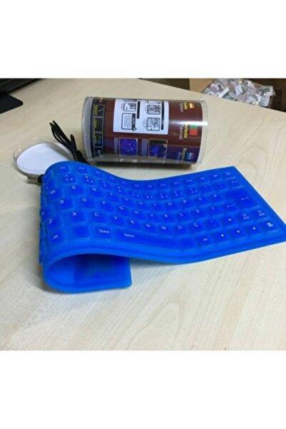 Platoon Mavi Renk Flexi Klavye Katlanabilir Su Geçirmez Usb Klavye Q Katl