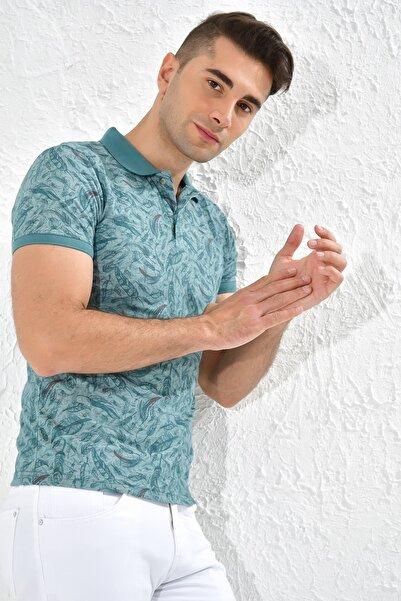 Rodi Jeans Rodi Ty20ye275220 Yeşil Erkek Yaprak Desen Düğmeli Polo Yaka Tshirt