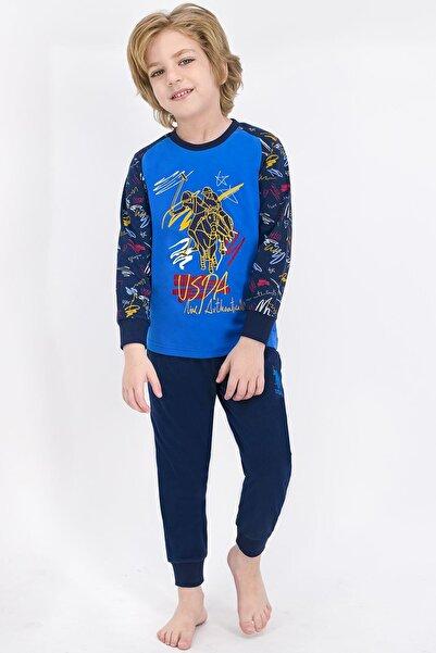 U.S. Polo Assn. Erkek Mavi Lisanslı Çocuk Pijama Takımı