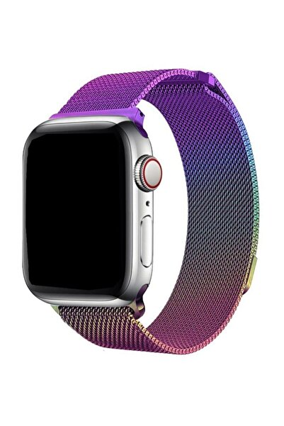 Cimricik Apple Watch 42 Mm - 44 Mm Hasır Örgü Metal Milano Kordon Kayış