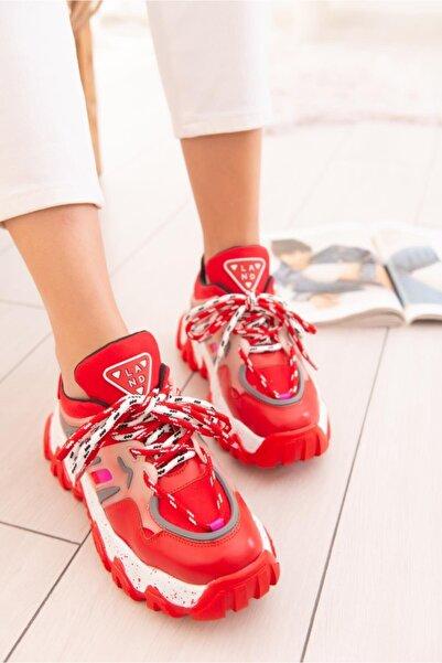 Limoya Cecelia Kırmızı Sneakers Kalın Tabanlı