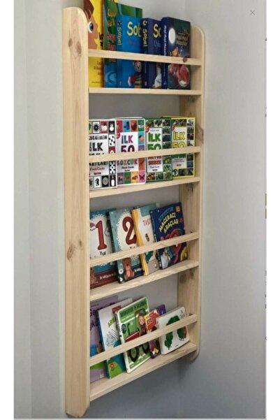 ELİSRA Montessori Kitaplık 100*50*9 Çocuk Odası Kitaplığı Ahşap Kitaplık Ham Ahşap Verniksiz Doğal