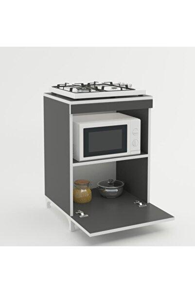 Kenzlife Ocak Dolabı Ayşe Gri 85*60*57 Mutfak Modül Mini Fırın Mikrodalga Banyo Ofis Modül
