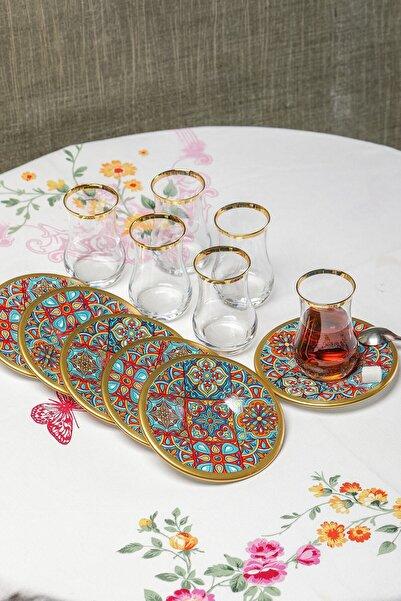 MHK Collection Dekorlu 12 Parça Çay Bardağı Takımı Seti