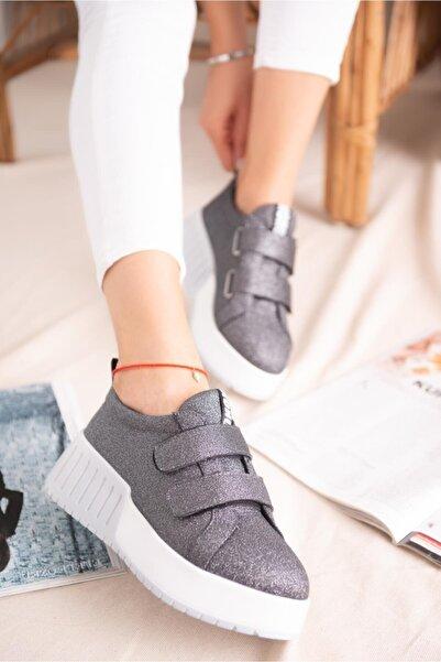 Limoya Julia Platin Simli Çift Bantlı Yüksek Tabanlı Sneakers