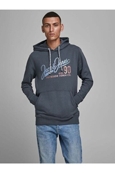 Jack & Jones Organik Pamuk Erkek Kapüşonlu Sweatshirt 12178449