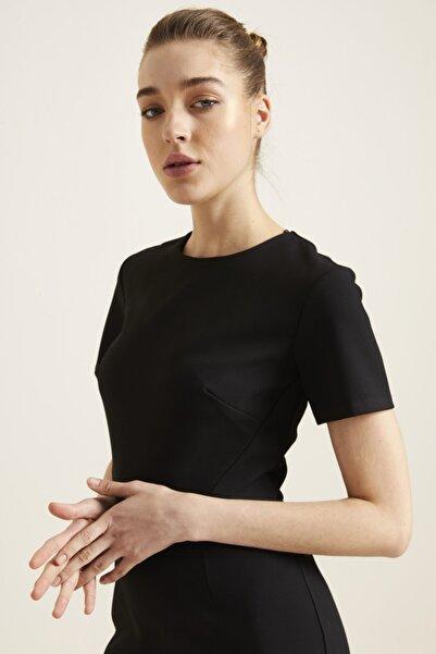 adL Kadın Siyah Arkası Fermuarlı Kısa Kollu Elbise 12439334000