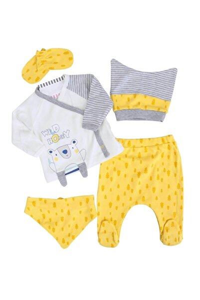 İmaj Sarı Ayılı Sarı Erkek Bebek 5li Hastane Çıkışı