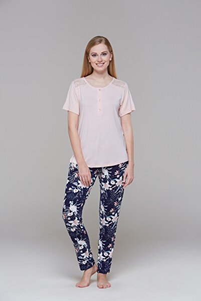 PJS 21554 Bayan Kısa Kol Pijama Takım