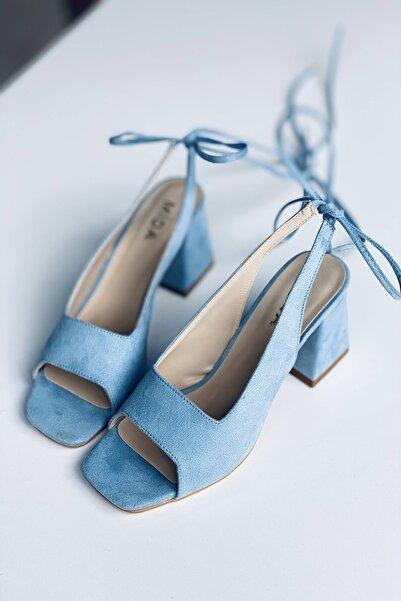 Mida Shoes Bebe Mavi Süet Bağıcıklı Topuklu Ayakkabı