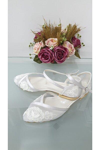 Almera's Shoes Kadın Beyaz Güpürlü Gelin Babeti B0635