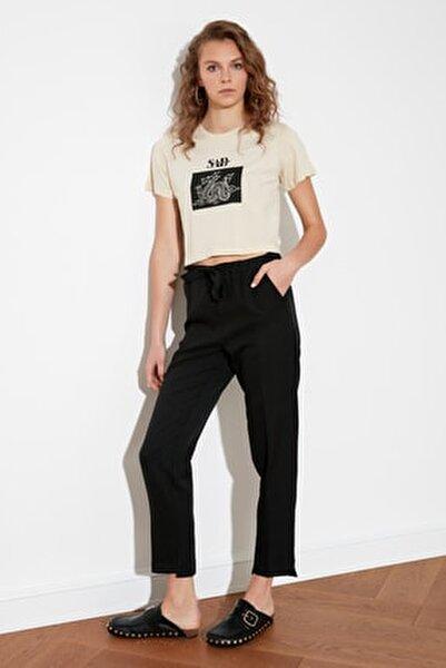 Siyah Bağlama Detaylı Düz Kesim Pantolon TWOSS21PL0496