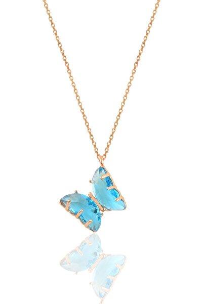 Söğütlü Silver Gümüş Rose Mavi Zirkon Taşlı Tasarım Kelebek Kolye