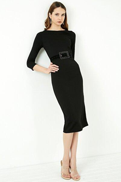 Vis a Vis Kadın Siyah Uzun Kol Midi Kalem Elbise