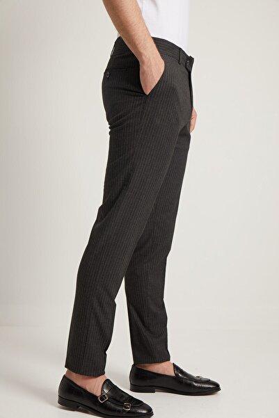 Fc Plus Erkek Gri Çizgi Desen Klasik Pantolon